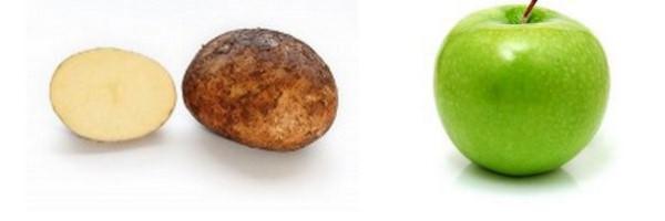 взять яблоко или картошку